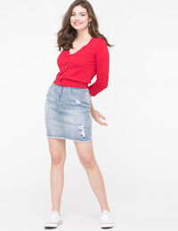 Distressed Raw Hem Denim Skirt