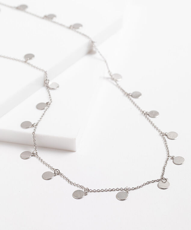 Small Stationed Circles Long Necklace, Silver