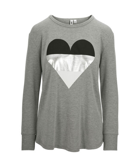Heart Graphic Pullover Top, Grey/Silver/Black, hi-res
