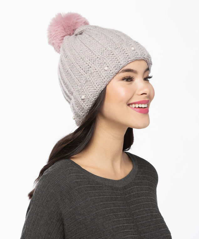 Chunky Cable Knit Toque, Petal Pink, hi-res