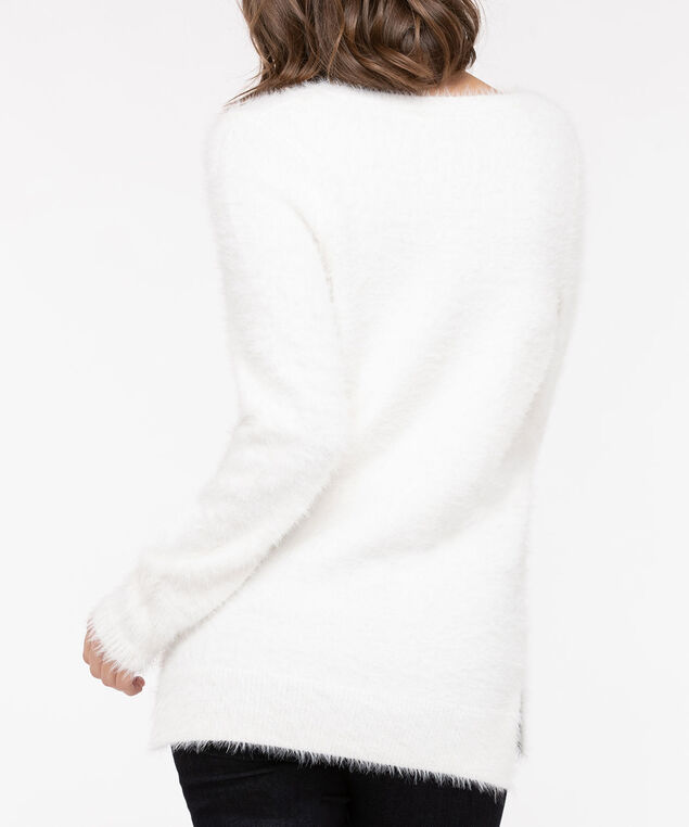 V-Neck Feather Yarn Sweater, Pearl, hi-res