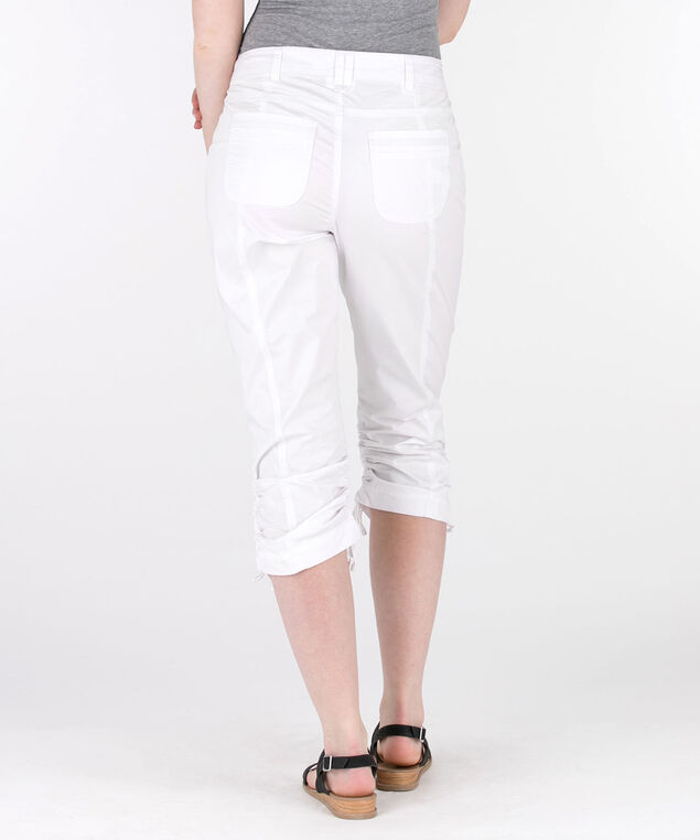 Poplin Double-Ruched Capri Pant, True White, hi-res