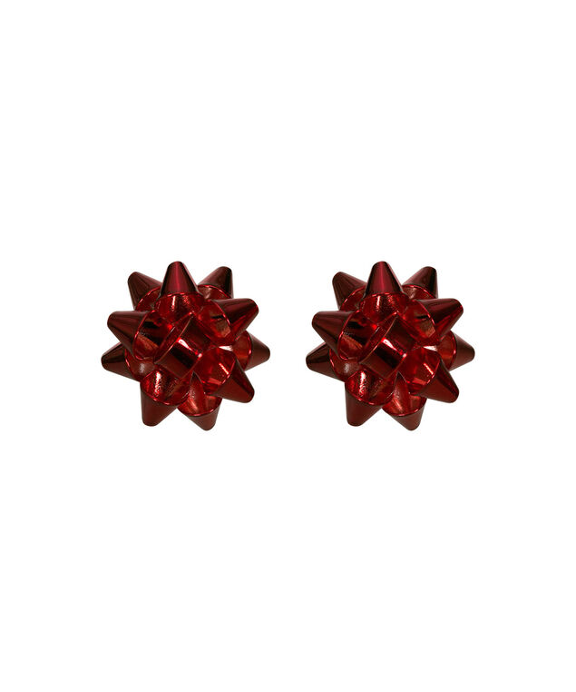 Metal Holiday Bow Earring, Red/Rhodium, hi-res