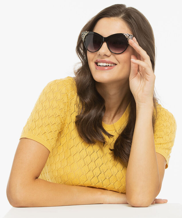 Gold Flower Tipped Cateye Sunglasses, Black/Gold, hi-res