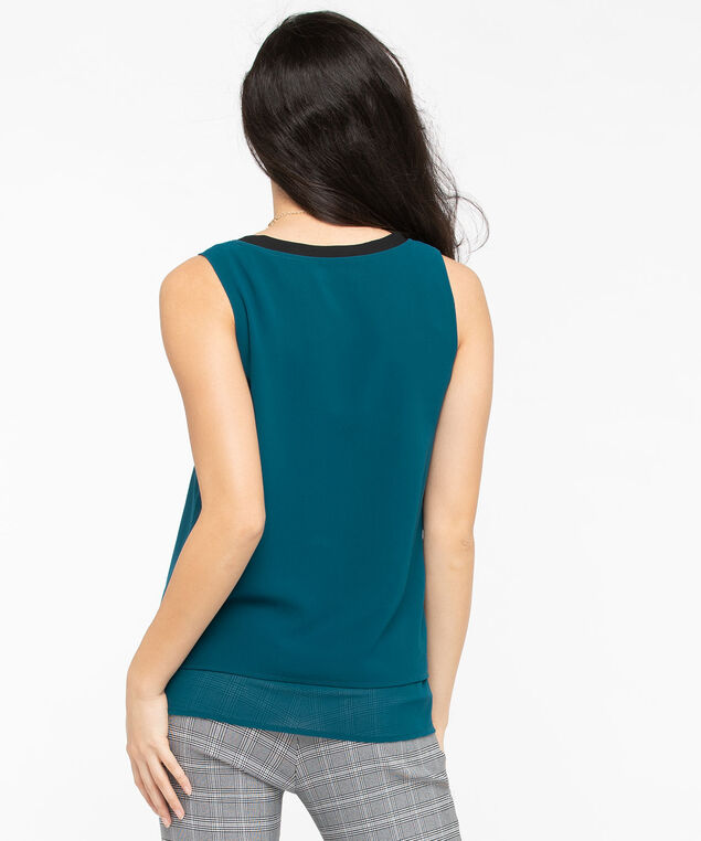 Sleeveless Layered Scoop Neck Blouse, Midnight Teal/Black, hi-res