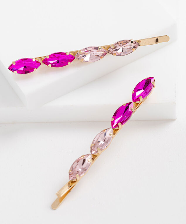 Pink Crystal Bobby Pin Set, Pink/Gold