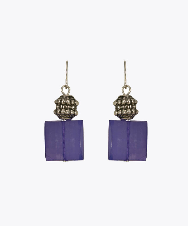 Faceted Square Bead Drop Earring, Purple, hi-res