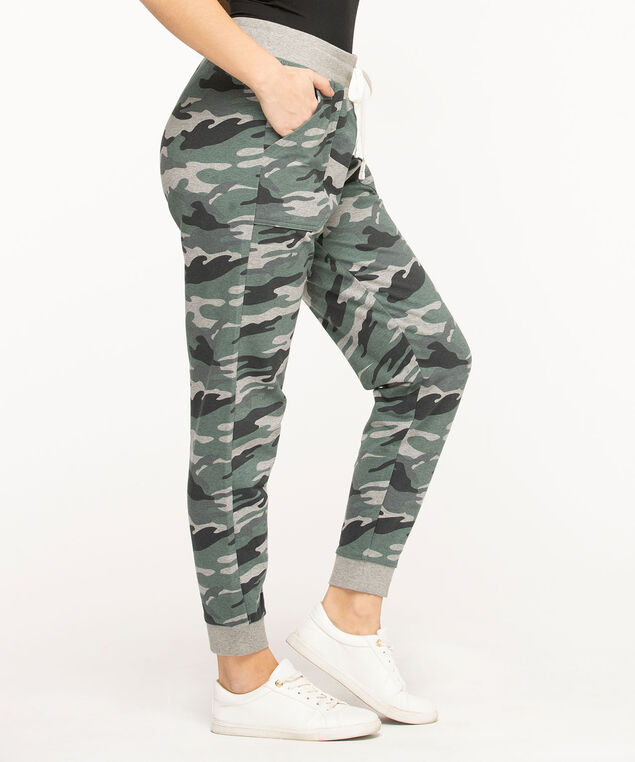 French Terry Drawstring Joggers, Olive Camo