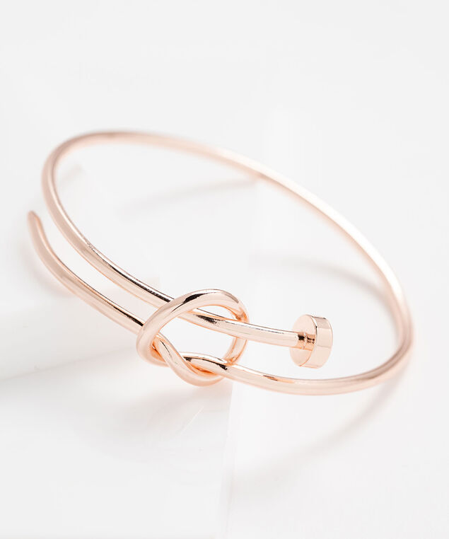Knotted Metal Hoop Bracelet, Rose Gold