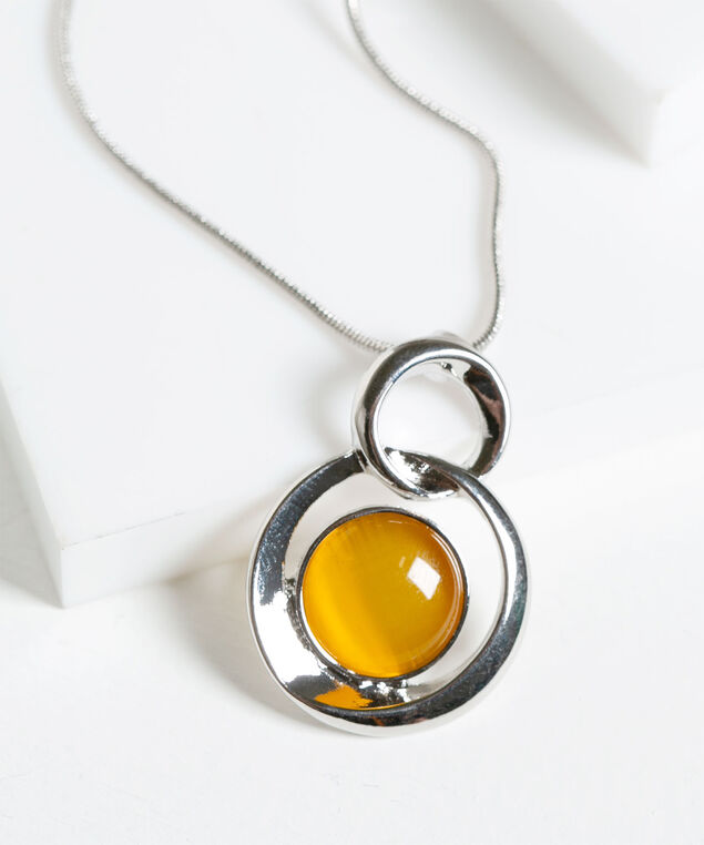 Cateye Pendant Necklace, Harvest Yellow/Rhodium, hi-res