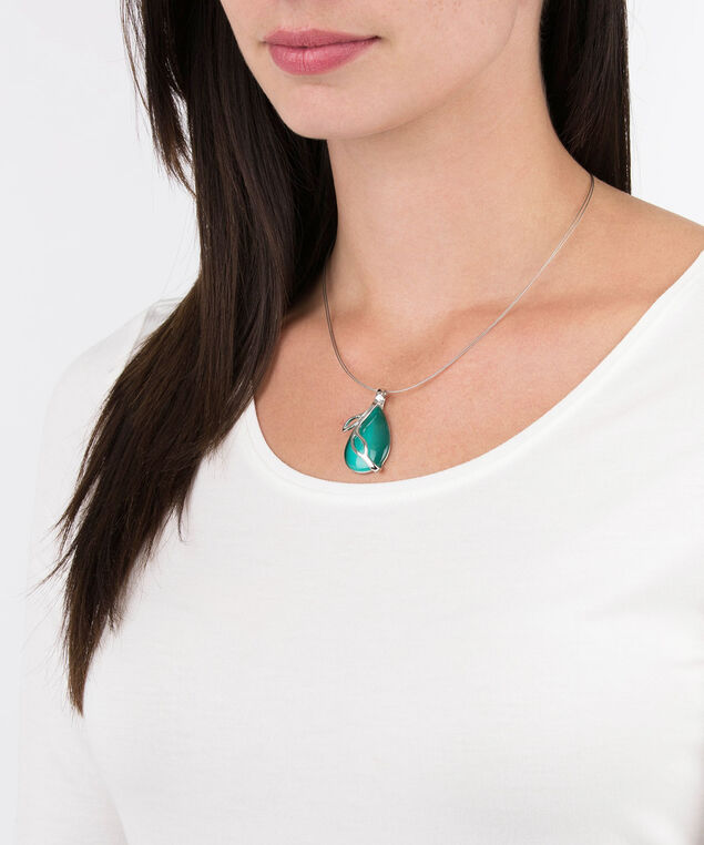 TEARDROP CATEYE LEAF WIRE NECKLACE, Soft Teal, hi-res