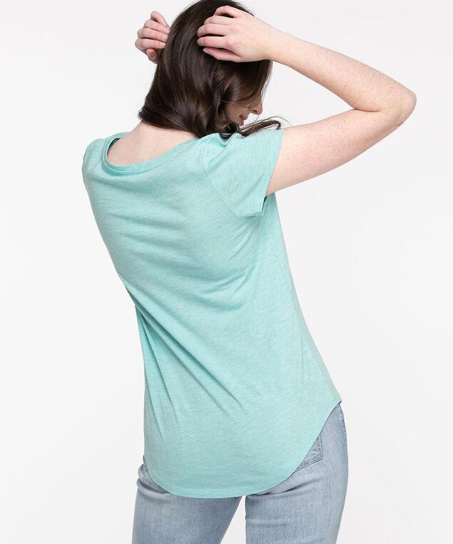 Scoop Neck Shirttail Graphic Tee, Blue/Sun Rays