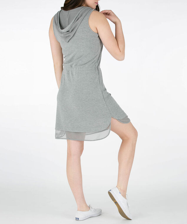 Mesh Trim Sleeveless Hoodie Dress, Heather Grey, hi-res