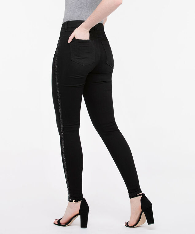 Black Sparkle Side Stripe Jegging, Black, hi-res