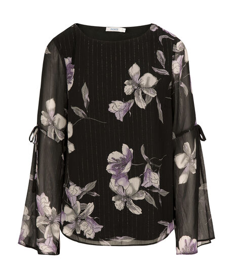 Flounce Sleeve Blouse, Black/Silver/Iced Violet, hi-res