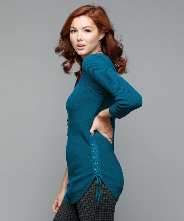 Lace-Up Hem Pullover Sweater, Bright Teal, hi-res