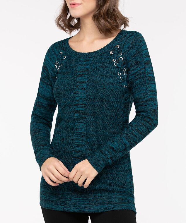 Lace Up Detail Pullover Sweater, Bright Blue Mix, hi-res