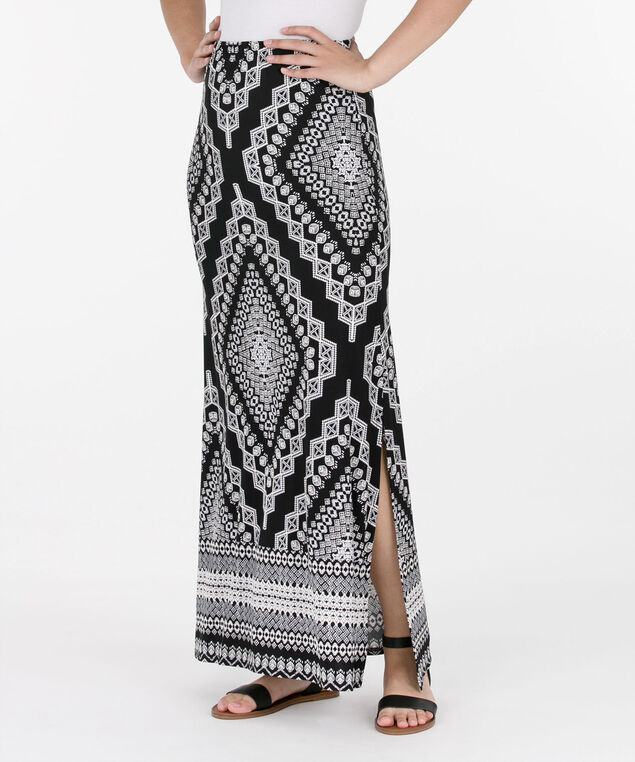 Puff Print Maxi Skirt, Black/Ivory, hi-res