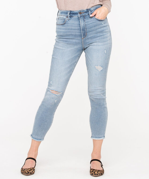 High Rise Distressed Skinny Jean, Light Wash, hi-res