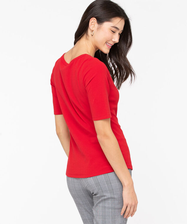 Elbow Sleeve Boat Neck Tee, Red, hi-res