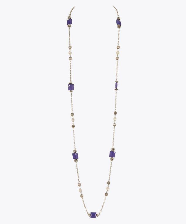 Faceted Square Bead Long Necklace, Purple, hi-res