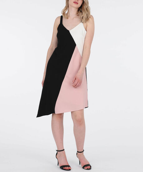 Strappy Colour Block Asymmetrical Dress, Black/Cameo Pink/White, hi-res