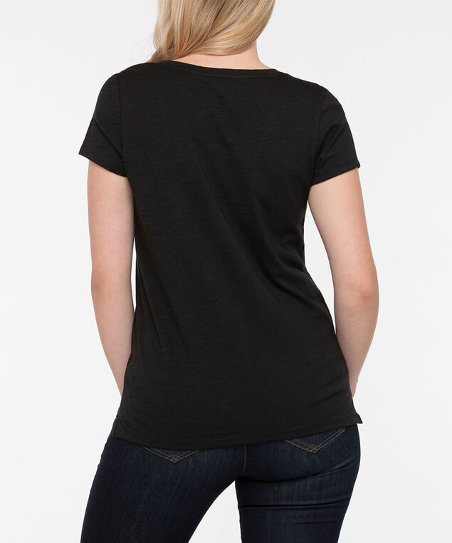 Short Sleeve Scoop Neck Tee, Black, hi-res