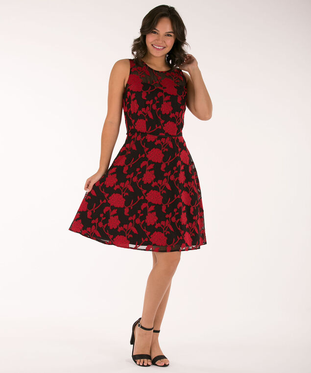 Illusion Neck Glitter-Lined Dress, Black/Cherry, hi-res