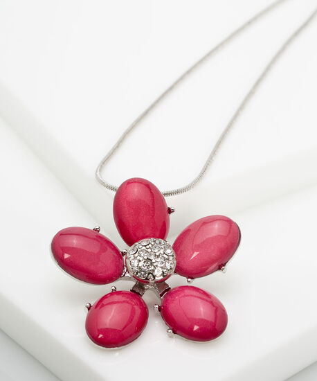 Crystal & Stone Flower Statement Necklace, Strawberry/Rhodium, hi-res