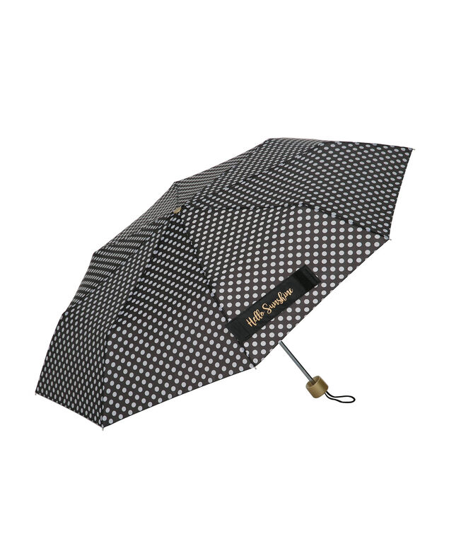 Hello Sunshine Polka Dot Umbrella, Black/White/Gold, hi-res