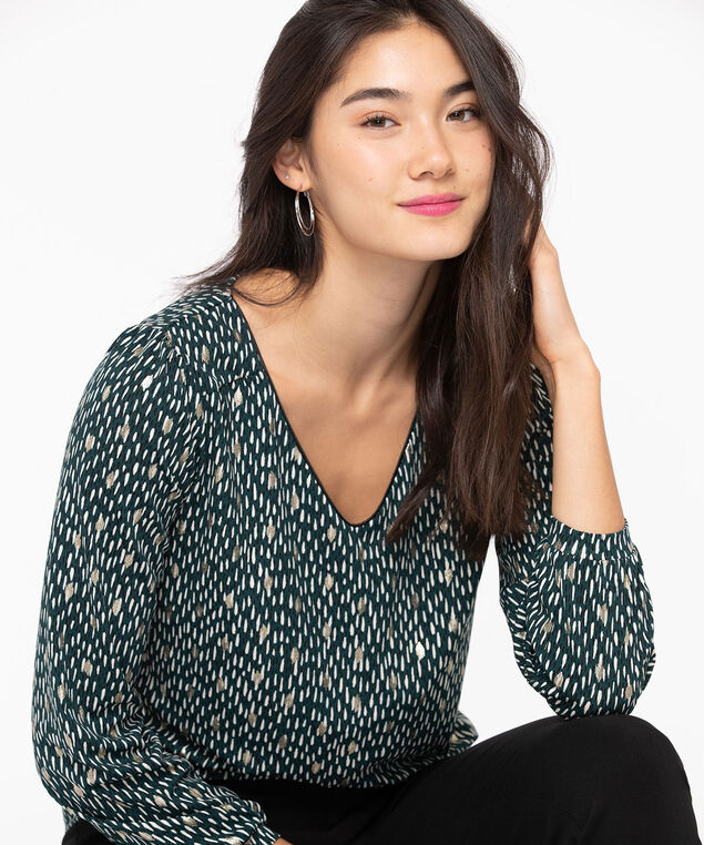 Long Sleeve Cuffed V-Neck Top, Emerald/Black/Ivory/Gold, hi-res