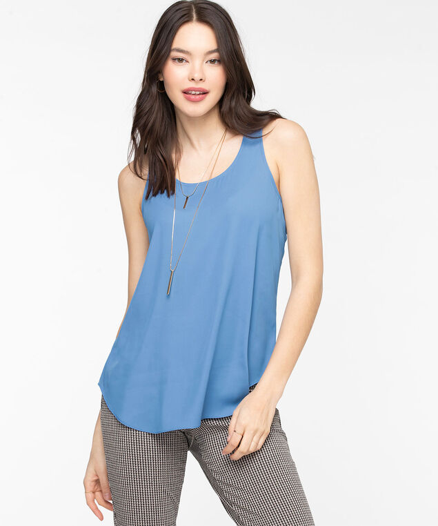 Pleat Back Woven Essential Cami, Mid Blue