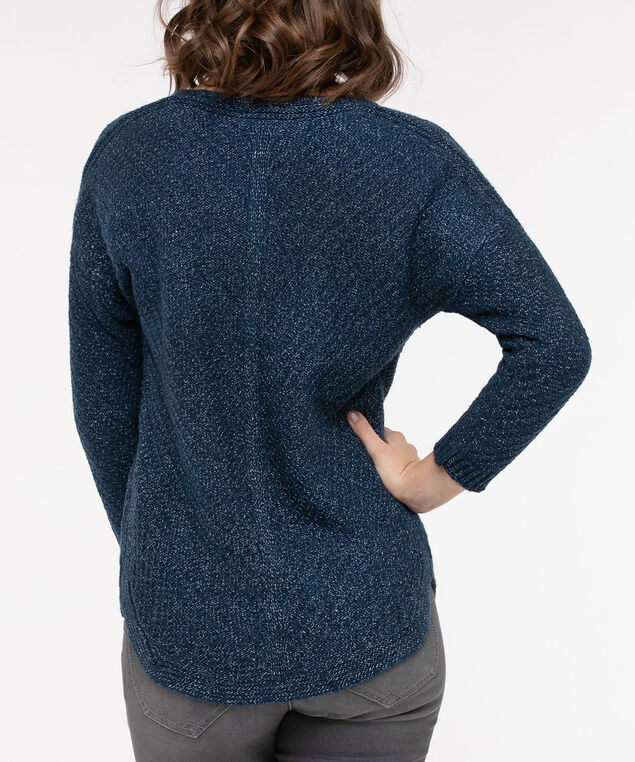 V-Neck Rounded Hem Sweater, Blue Fog, hi-res