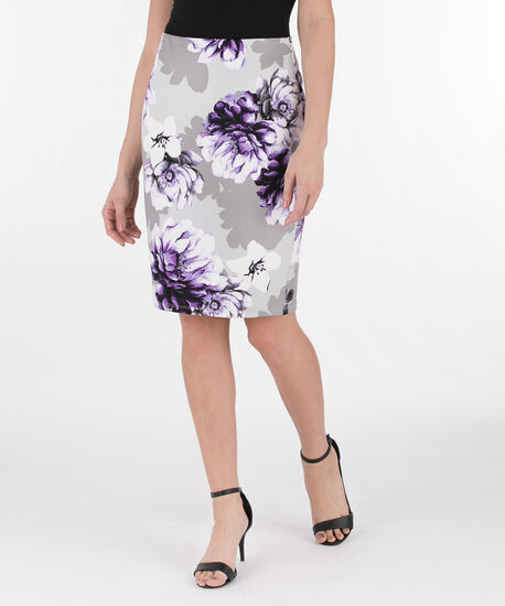 Scuba Crepe Pencil Skirt, Purple/Grey, hi-res