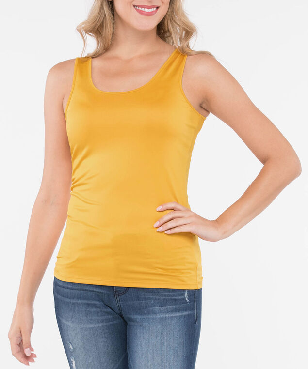 Built Up Scoop Neck Cami, Mustard, hi-res