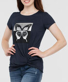 Short Sleeve Knot Front Top, Deep Sapphire/Silver/Black, hi-res