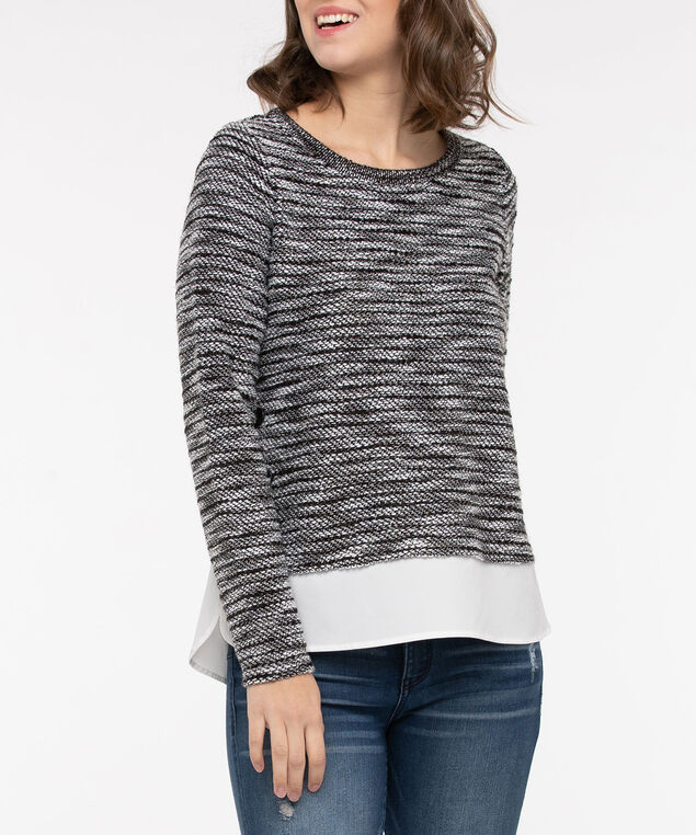 Pullover Button Trim Fooler Top, Black/Pearl, hi-res