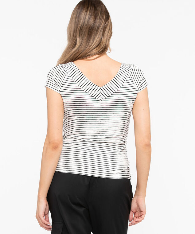 Double-V Striped Knit Top, Pearl/Black, hi-res