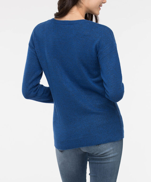 Cable Knit Scoop Neck Sweater, Deep Sapphire, hi-res