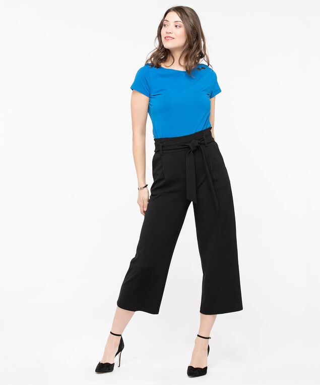 Button Shoulder Boat Neck Top, Azure, hi-res