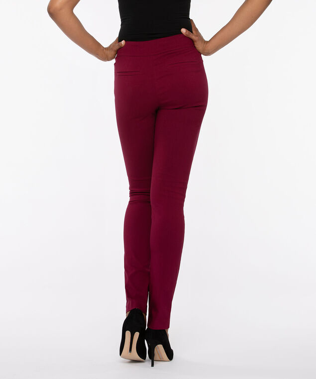 Microtwill Pull On Slim Leg, Burgundy, hi-res
