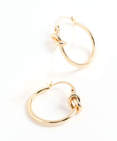 Knotted Hoop Earring, Gold, hi-res