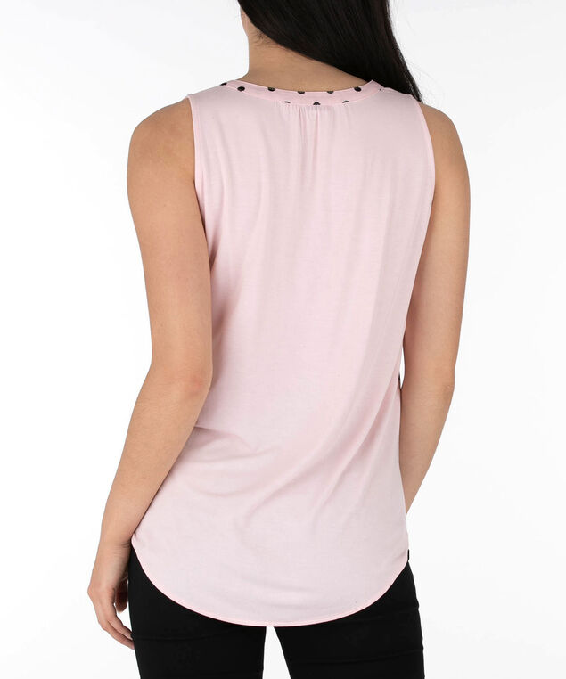Sleeveless Henley Tee, Coral/Black, hi-res