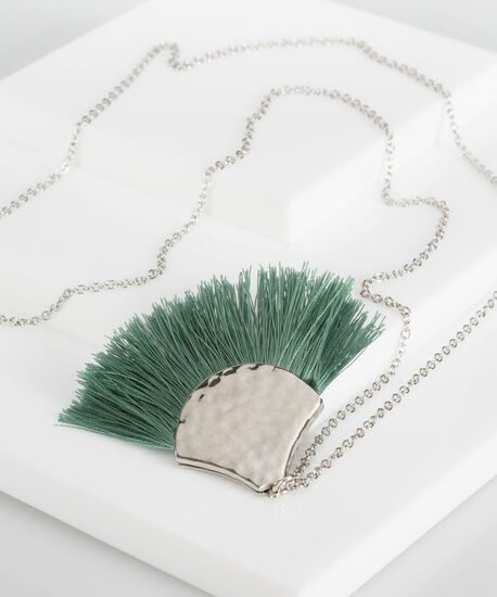 Hammered Metal & Fringe Necklace, Light Sage/Rhodium, hi-res