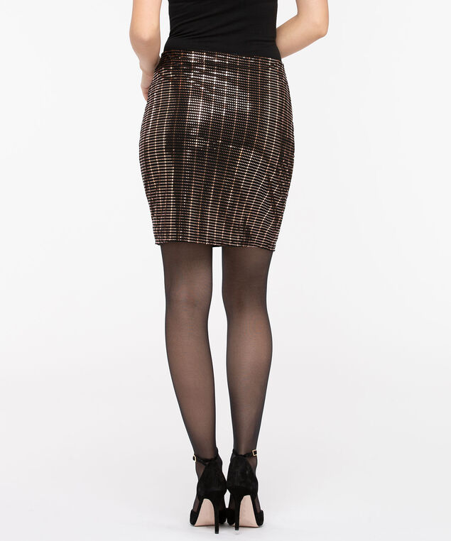 Sequin Pull On Mini Skirt, Black/Copper, hi-res