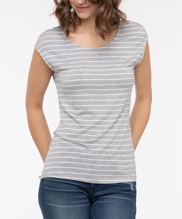Extended Sleeve Striped Tee, Grey/Pearl, hi-res