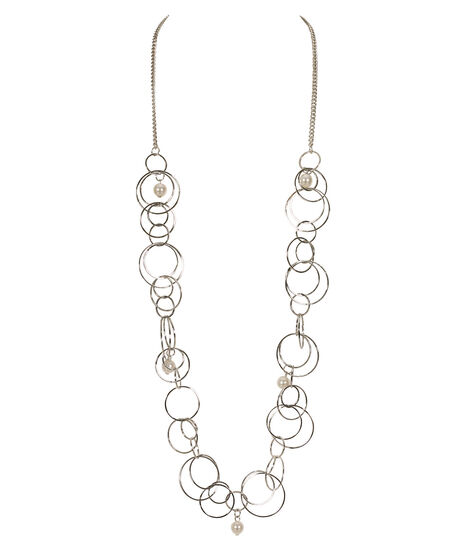 Long O-Ring & Pearl Necklace, White/Rhodium, hi-res
