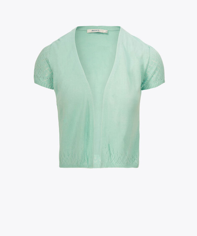 Pointelle Short Sleeve Cardigan, Light Aqua, hi-res