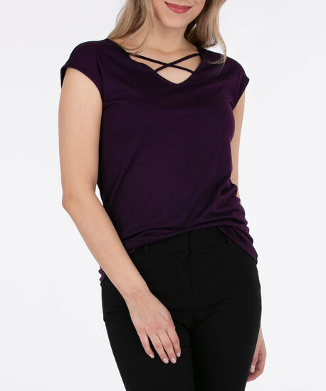 Cross Front Extended Sleeve Top, Deep Purple, hi-res