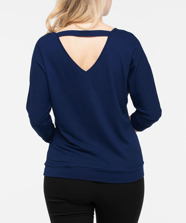Double-V Cutout Back Knit Top, Deep Sapphire, hi-res